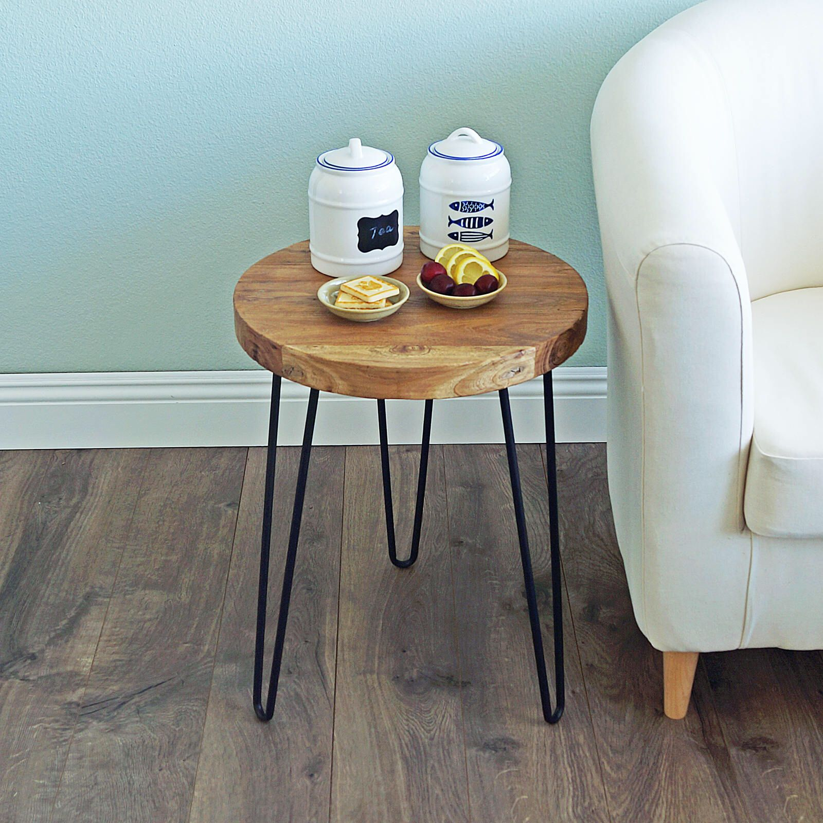 Wood Side Table Pine Rustic Hairpin, Round Wooden Table, Mid