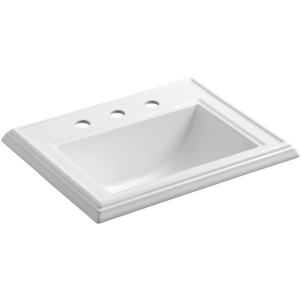 Kohler Memoirs Clic Drop In Vitreous China Bathroom Sink White With Overflow Drain K 2241 8 0 The Home Depot