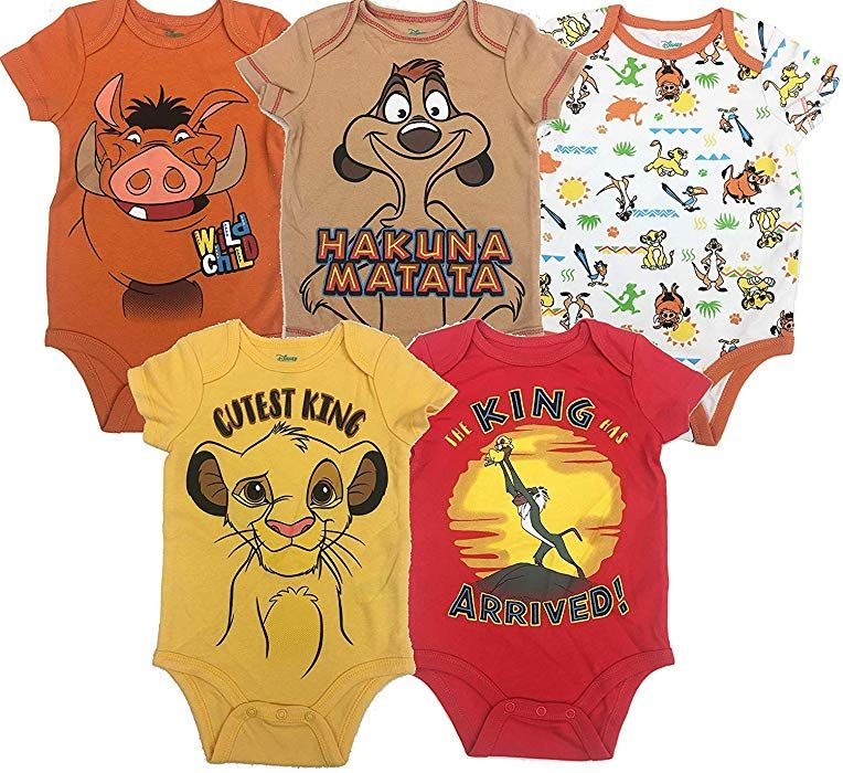f856674dd Amazon.com: Disney Lion King Baby Boys' 5 Pack Bodysuits Simba Timon  Pumbaa, 18 Months: Clothing