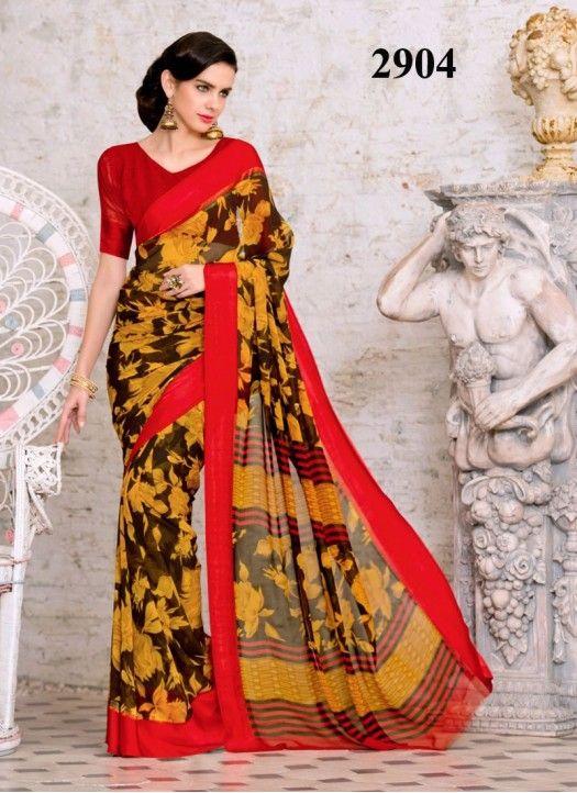 a8c38dc1e7 Kreckon Red Border With Yellow Flower Print Saree | Designer Sarees ...