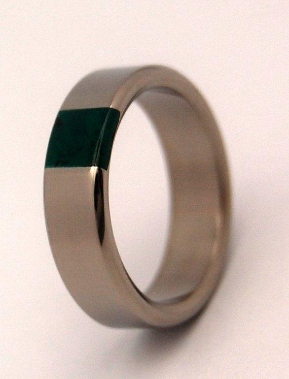 Titanium And Jade Wedding Band Mens Ring Womens Ring Unique