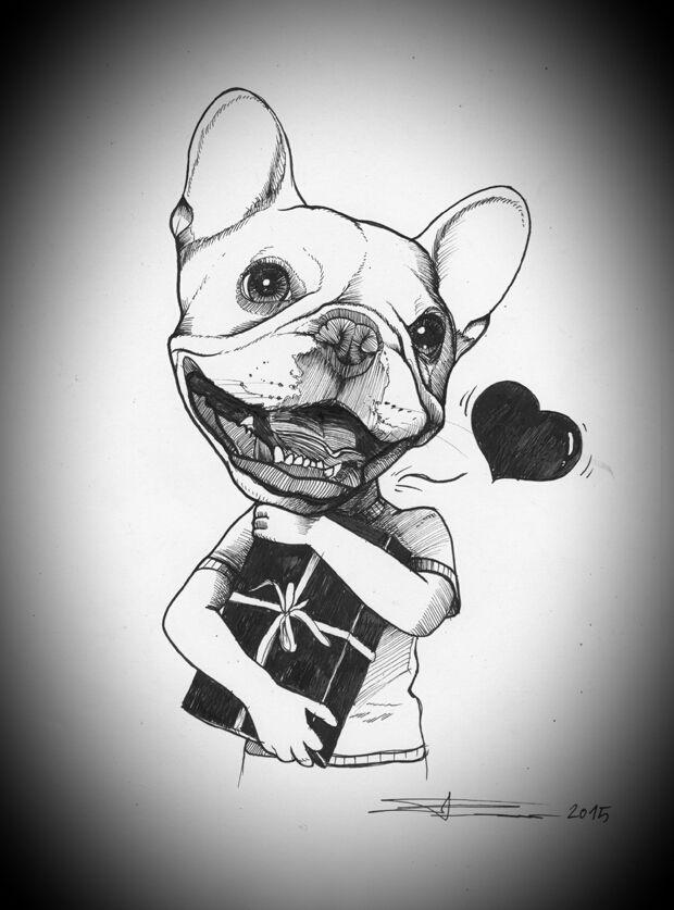 Frenchie , French Bulldog , Drawing , Teunen , Jeroen ...