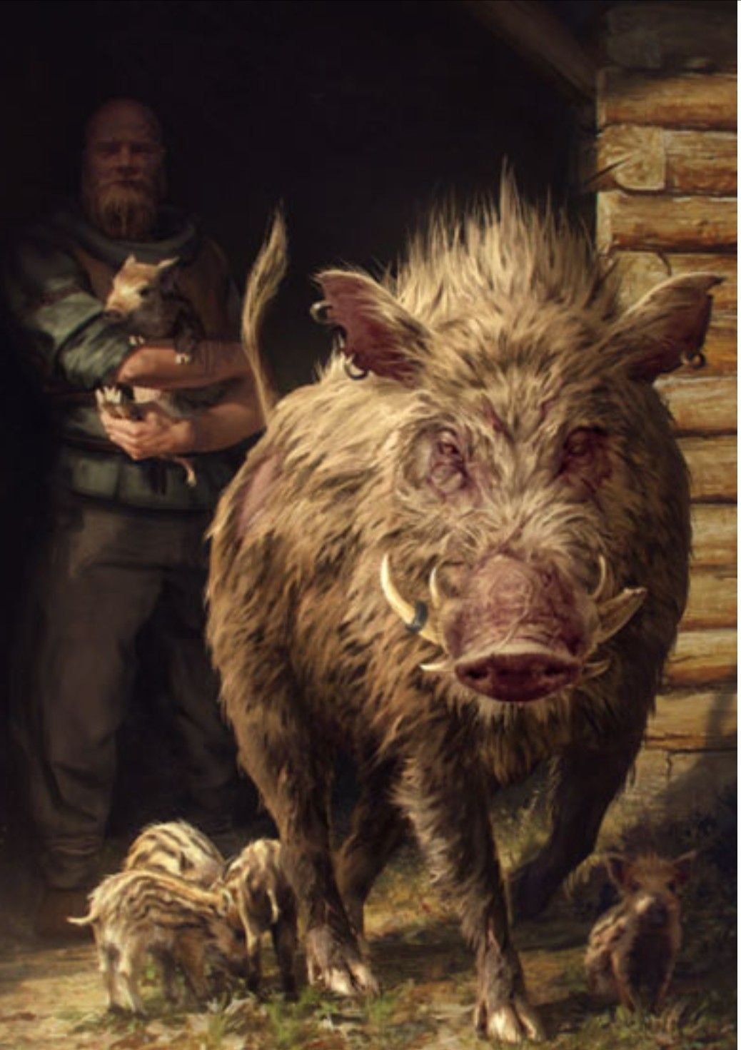 The Witcher Giant Boar Gwent Card Skellige Witcher Art In 2019