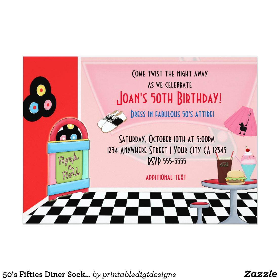 50\'s Fifties Diner Sock Hop Party Invitations | 50\'s Theme Party ...