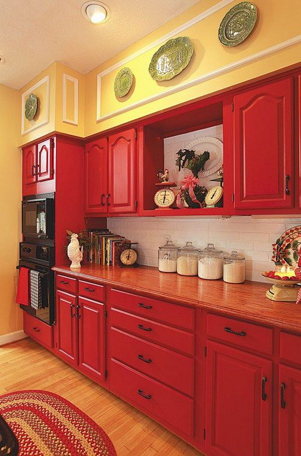 Best Red Cabinets Paired With Pale Yellow Walls And White 400 x 300