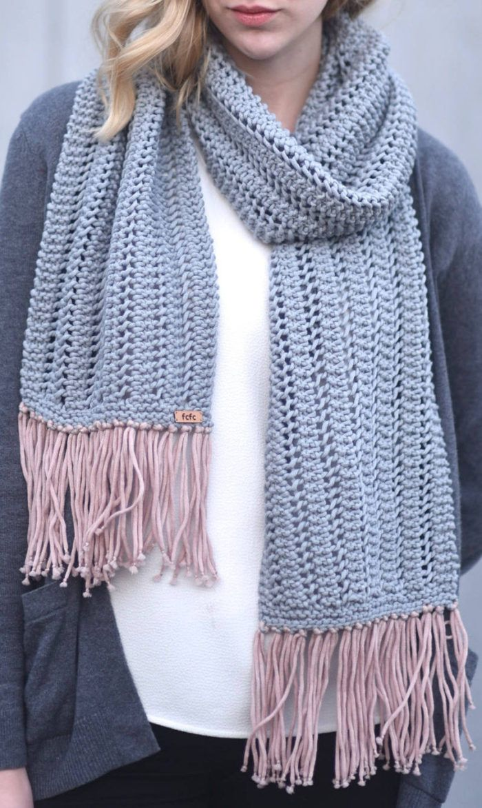 Knitting Pattern for Easy 1 Row Repeat Sheila Scarf - Knit in a 1 ...