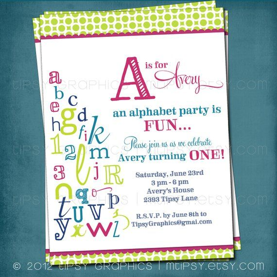 P Is For Party Abc Colorful Alphabet Birthday Party Invitation Any