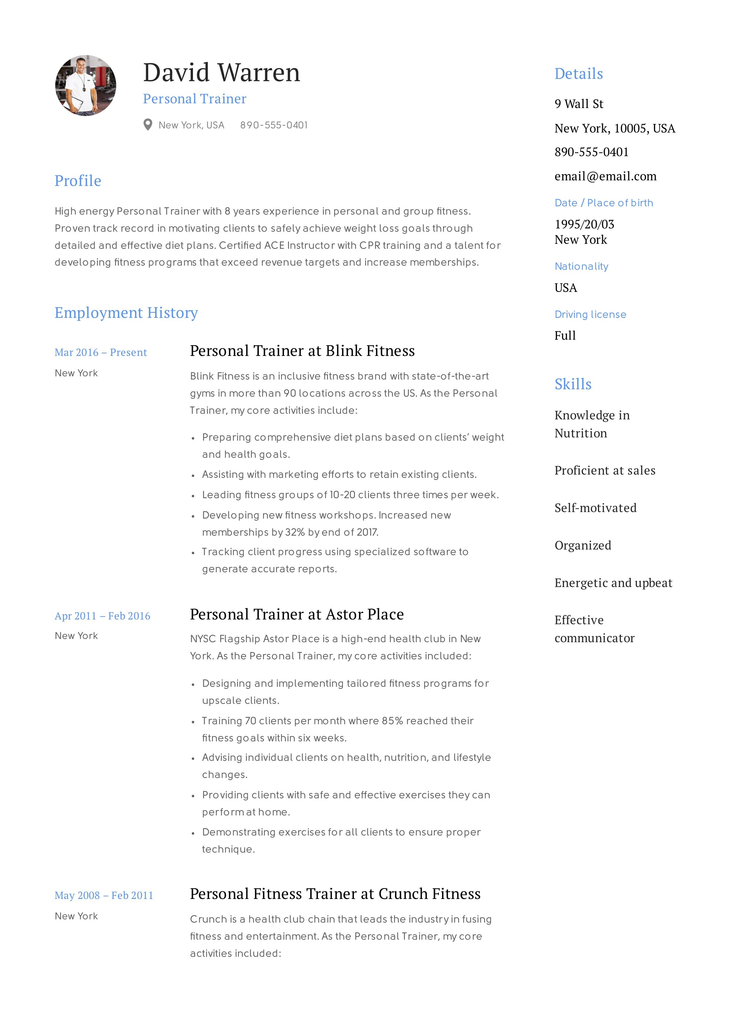 Best Fitness And Personal Trainer Resume Example Good Resume