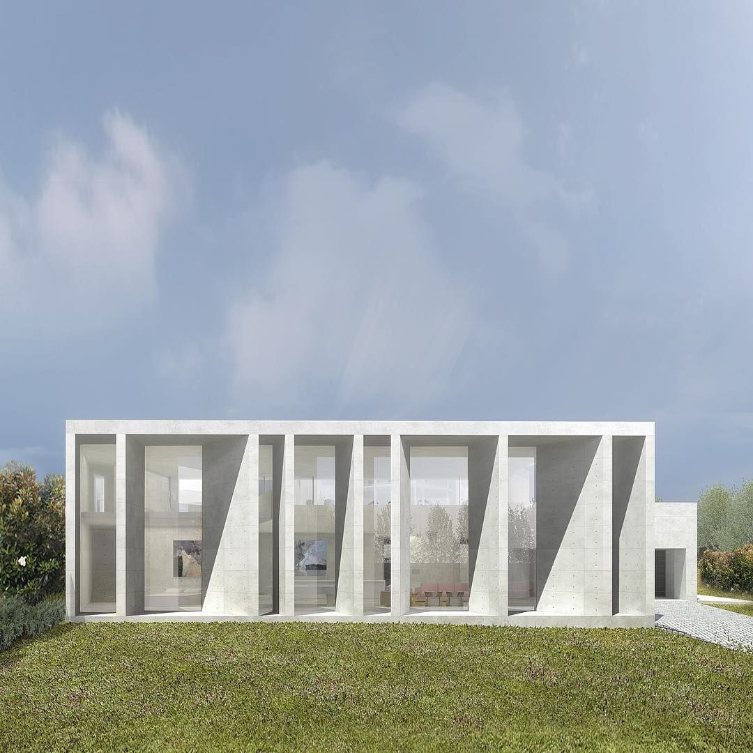 """The this new guest house (with spa, home theatre, family room and cellar) has a series of concrete blade walls angled in random directions to focus and…"""