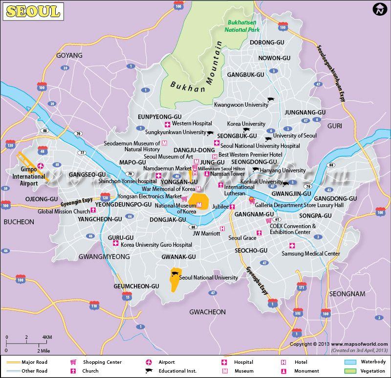 South Korea Seoul Map Maps Of Korea Pinterest