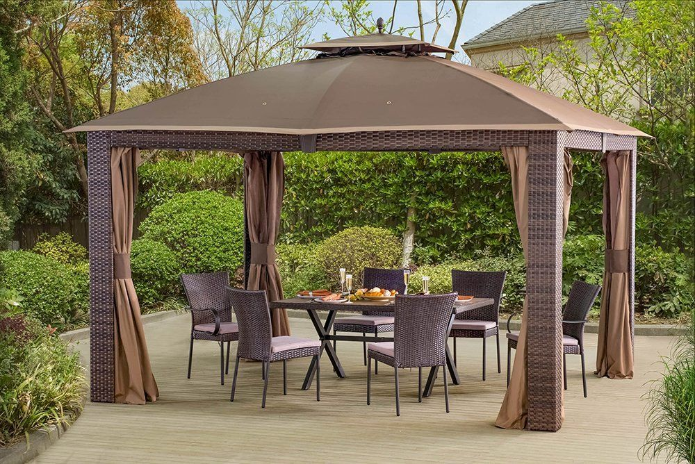 12 X 10 Sonoma Wicker Gazebo Large Brown Gold Trim Patio Gazebo Gazebo Patio
