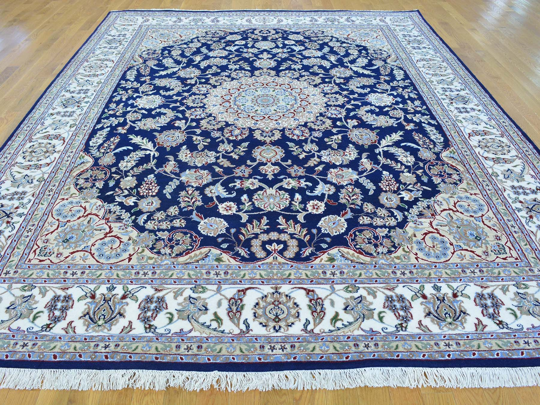 8 X 10 Navy Blue Wool And Silk Nain Hand Knotted Oriental Rug Sh24725 Product 8 X 10 Navy Blue Wool Oriental Rug Designs Blue Oriental Rug Blue Persian Rug