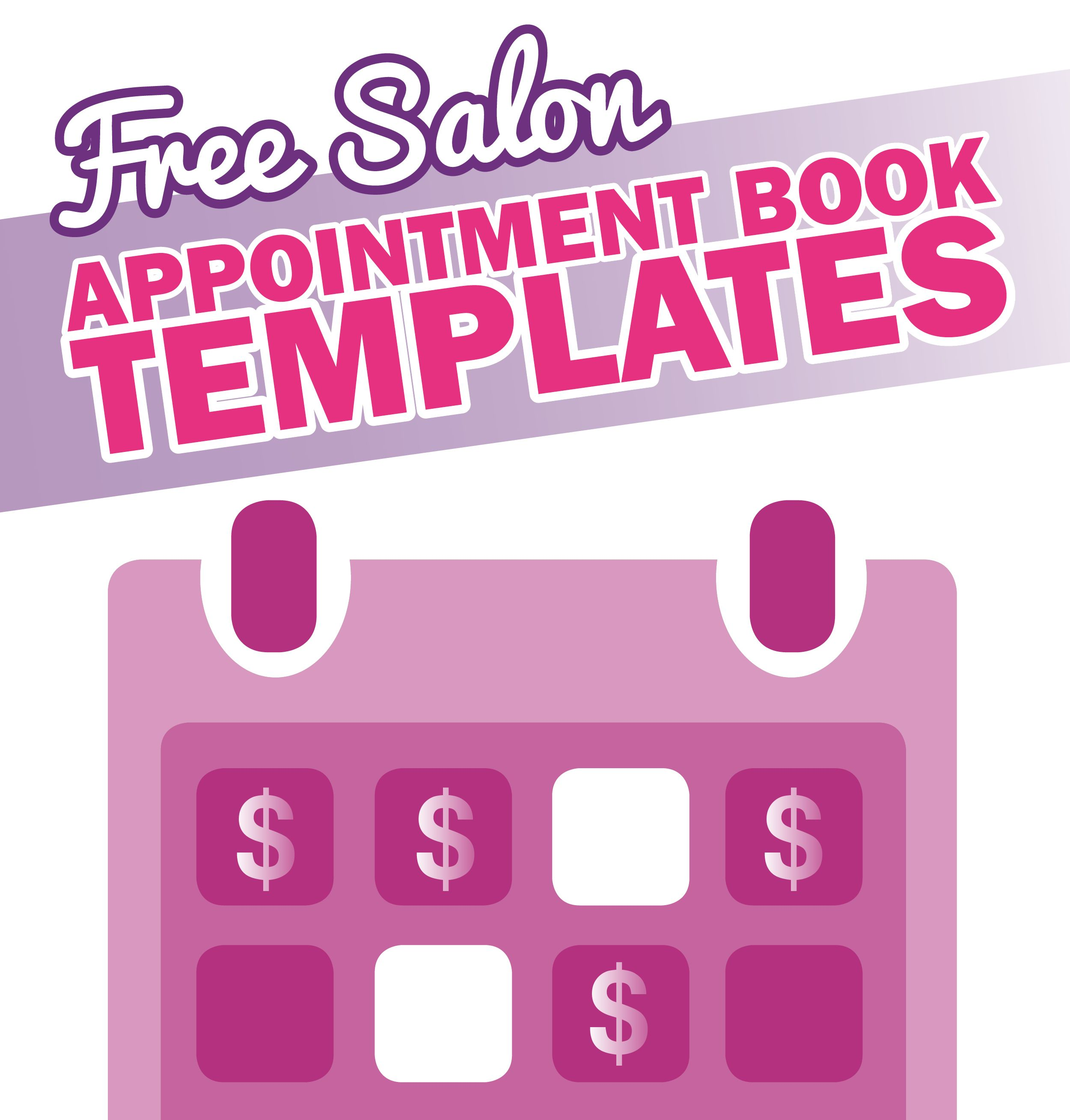 Free Salon Appointment Book Template - http://worldwidesalonmarketing.com/ salon-