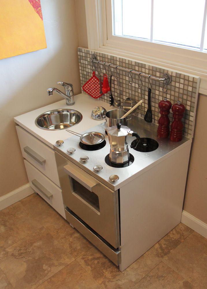 Modern Play Kitchen, OMG So Cool!! Complete With Backsplash Tile And  Utensil Hanger!