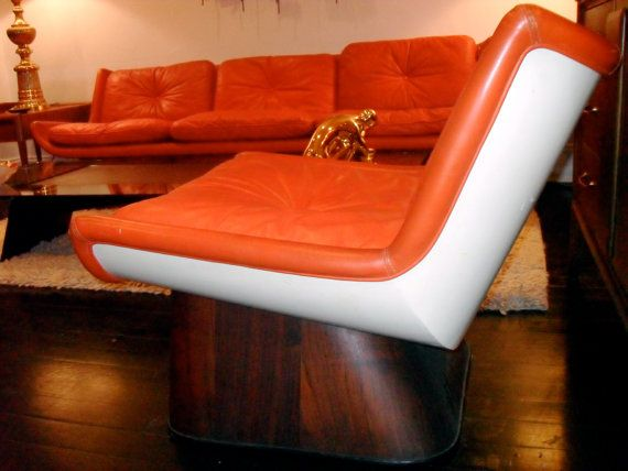 1960s orange leather sofa pair of club chairs by modpadtx pimp my crib pinterest. Black Bedroom Furniture Sets. Home Design Ideas