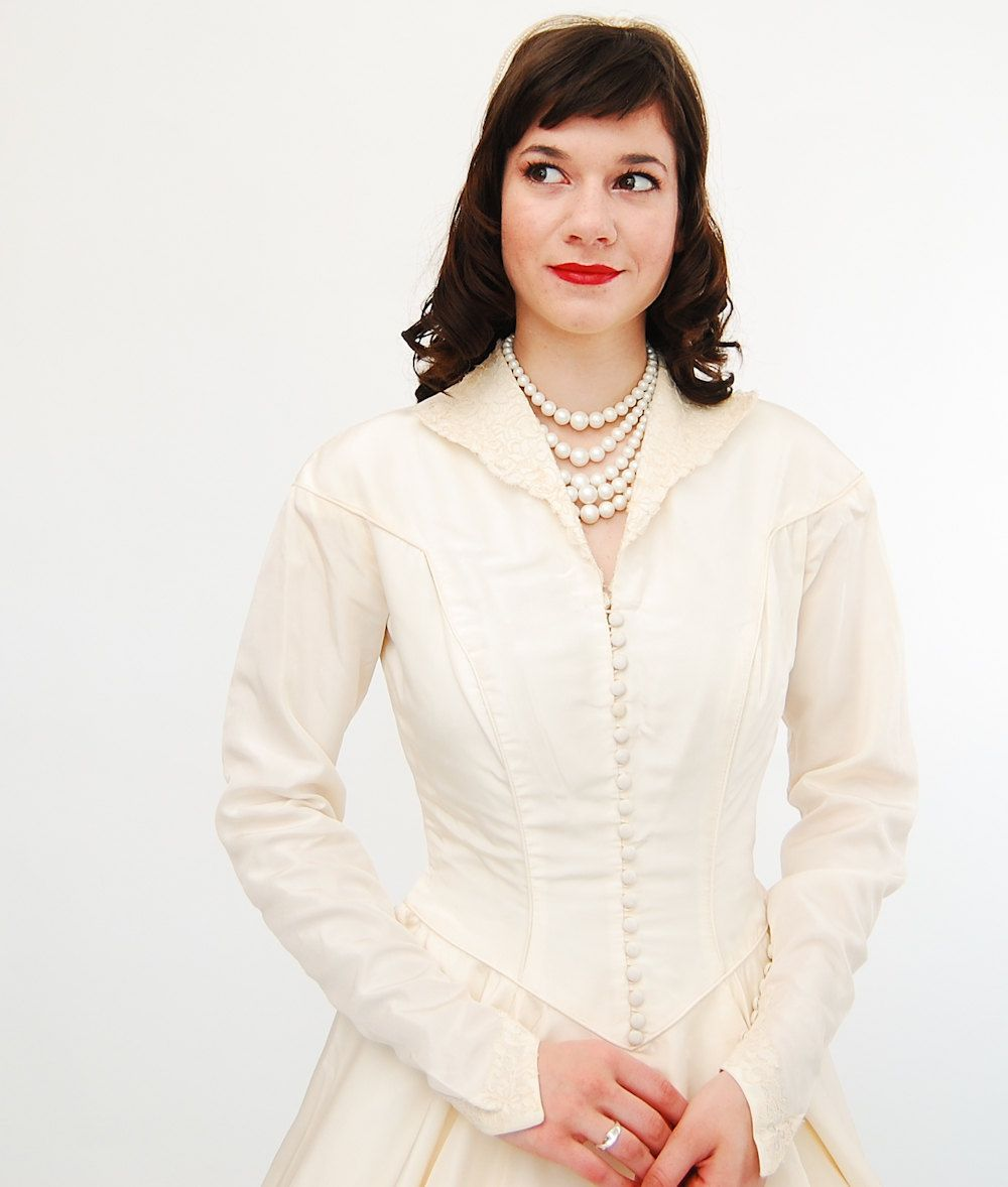 Vintage s wedding dress s wedding gown ivory taffeta new