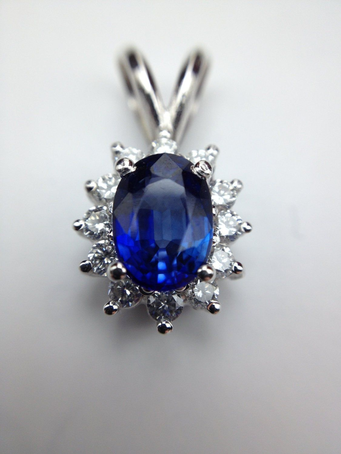 1,0 ct sapphire pendent 0,35 ct natural diamonds in 14 ...