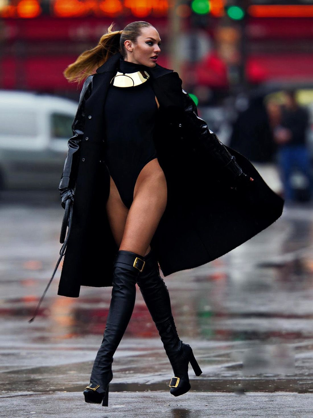 Womens leather gloves au - Candice Swanepoel For Aussie Vogue Valentino Coat Agnelle Leather Gloves Mcqueen Leather Boots