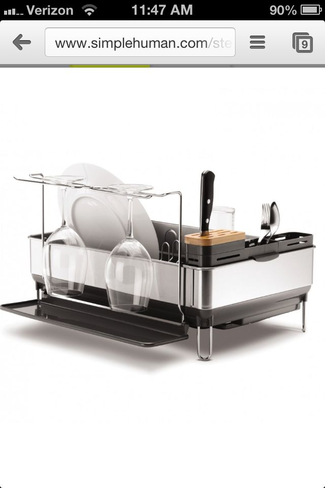 Best Simplehuman Dish Rack With Wine Glass Hanger And Knife 400 x 300
