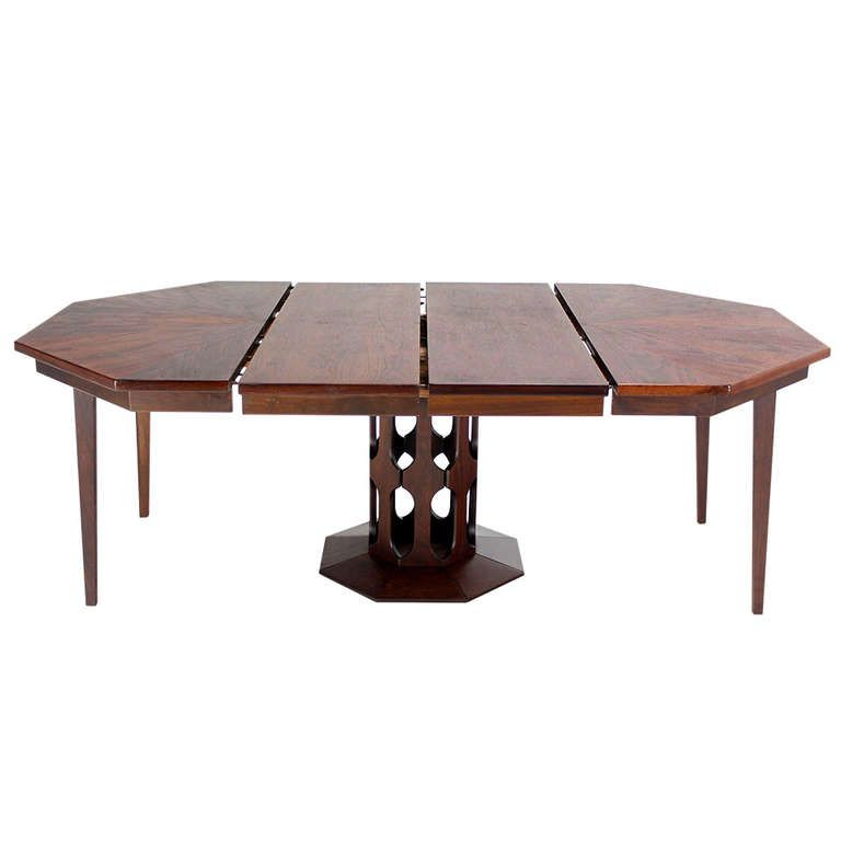 Oiled Walnut Octagonal Two Leaf Dining Table In The Style Of Harvey Probber