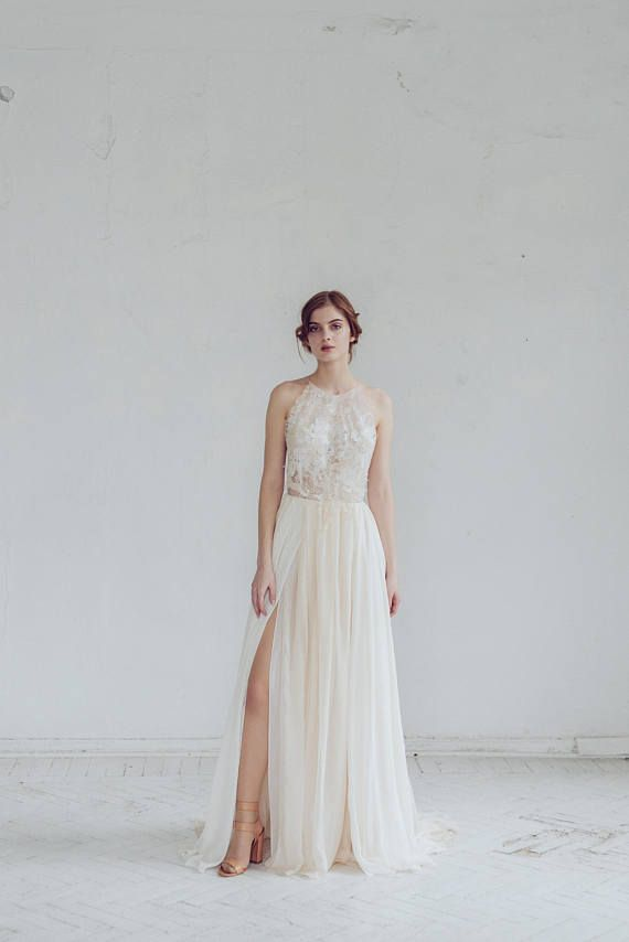 Silk wedding dress // Melita / Open back wedding gown, halter-neck ...