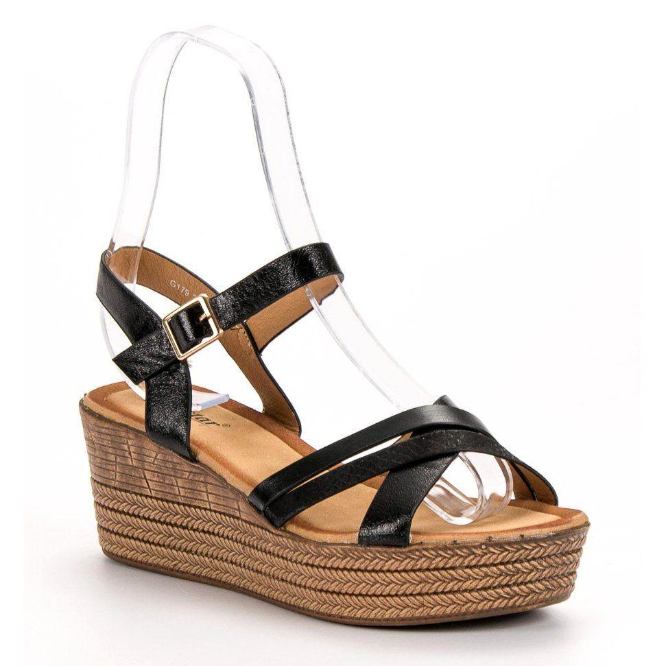 Seastar Lekkie Sandalki Na Koturnie Czarne Espadrilles Wedge Espadrille Shoes