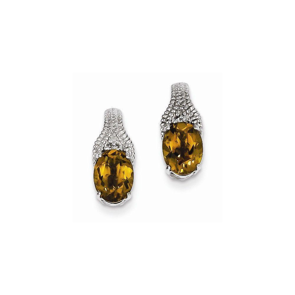 Sterling Silver Whiskey Quartz and Diamond Earrings