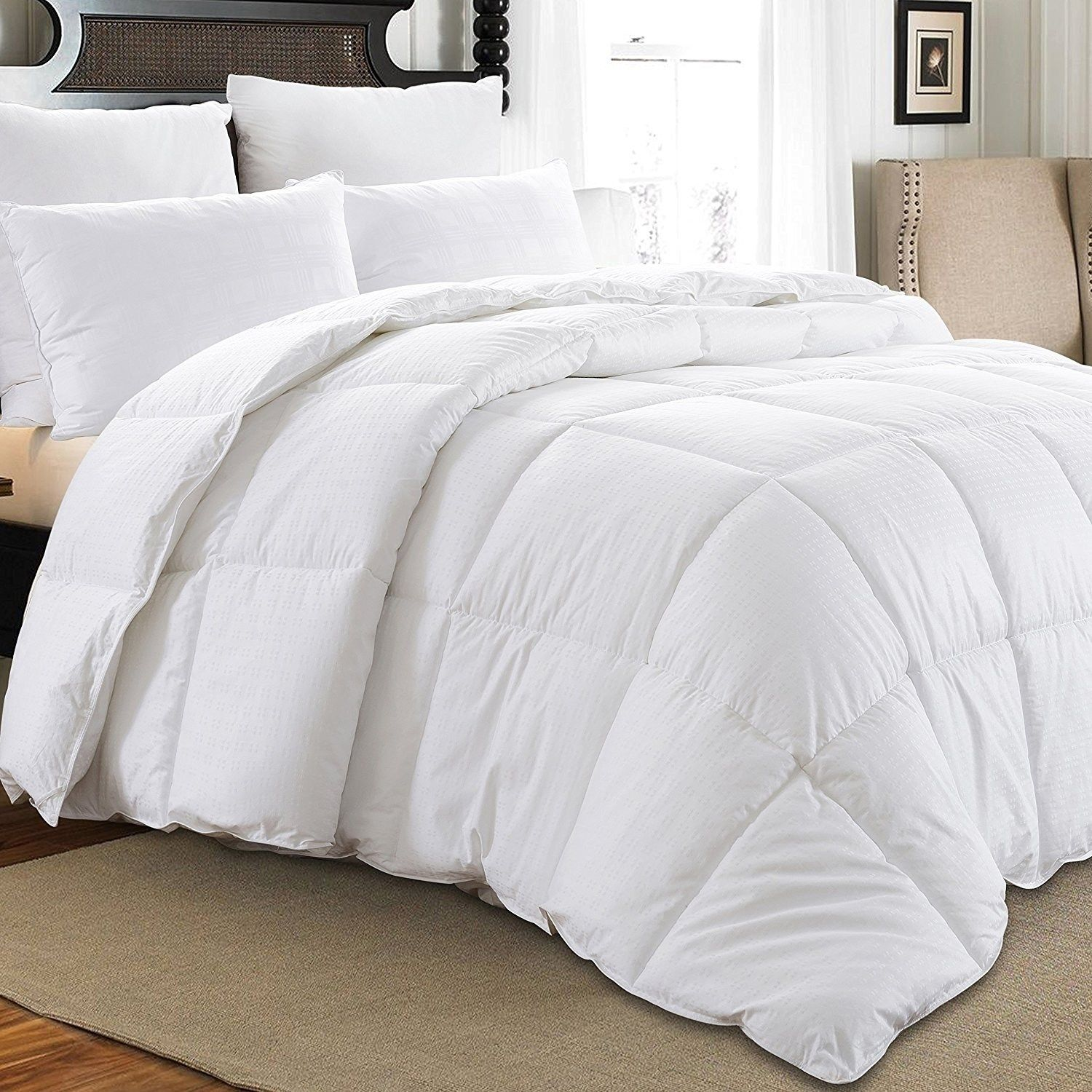 Downluxe Hypoallergenic 350 Thread Count 100 Cotton Shell Down Proof 600 Fill Power All Seasons Baffle Box White Down Comforter Down Comforter Comforters White Down Comforter
