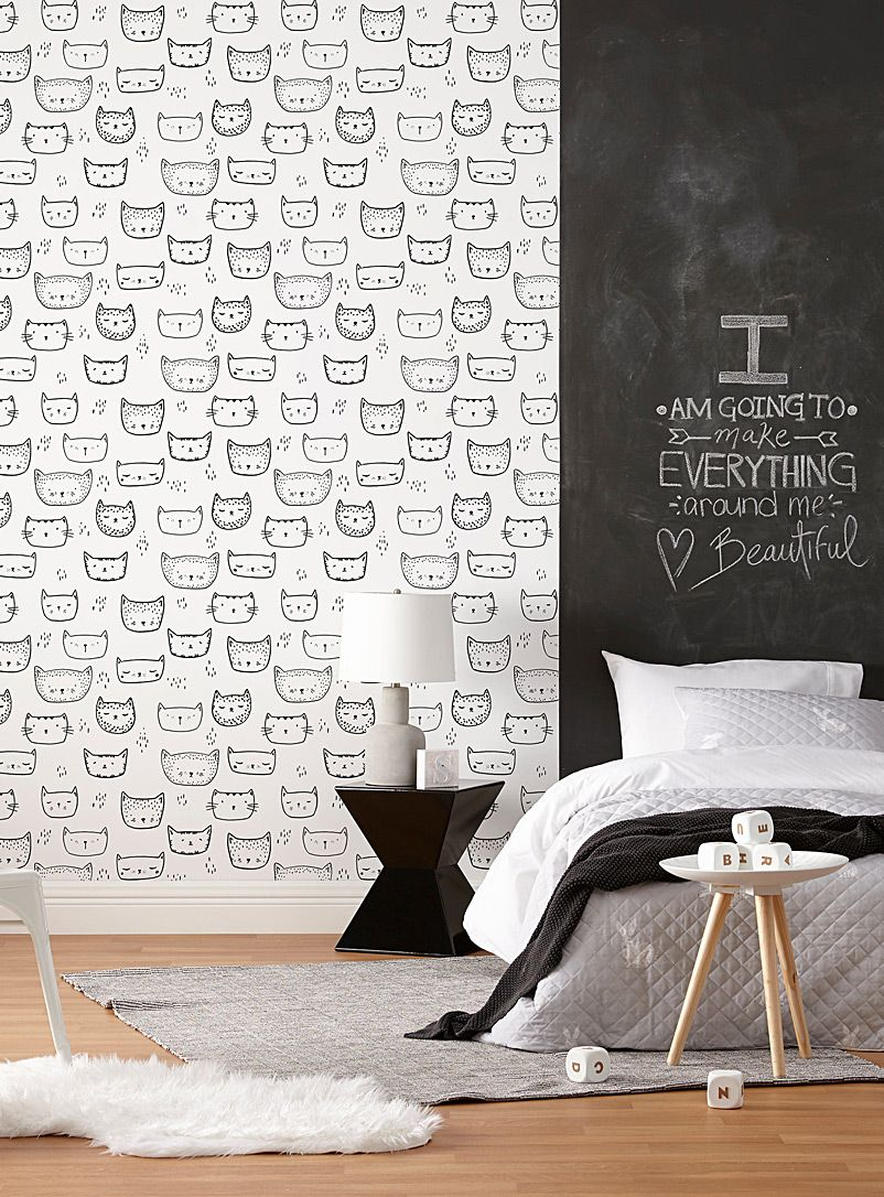 Purring kittens wallpaper strip Decoration Black and
