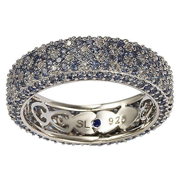 Platinum Sterling Silver Pave Eternity White Sapphire Slip On Bangle Bracelet