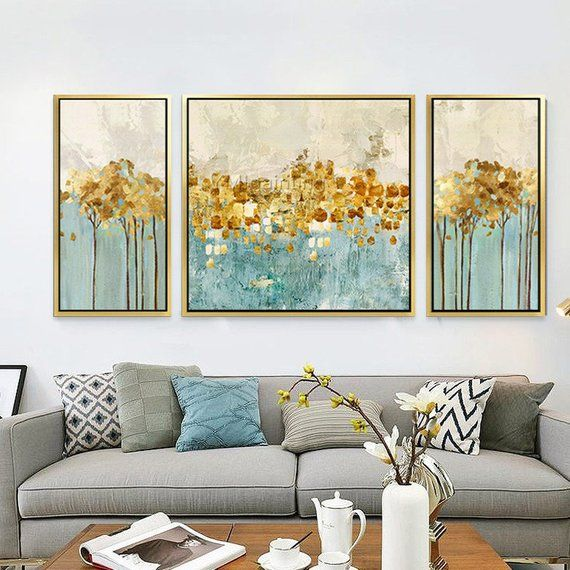 3 Pieces Wall Art Original Gold Flower Extra Large Abstract Acrylic