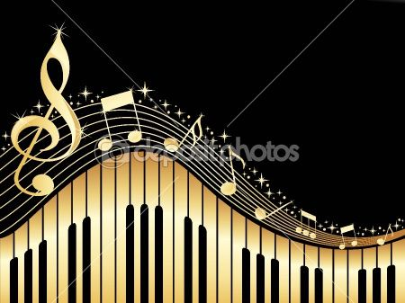 Music notes with piano — Stock Vector #3002101