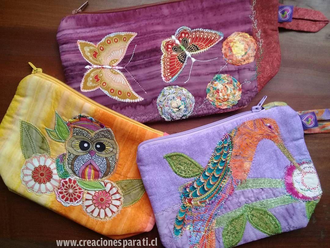 Cosmetiqueros aplicación  mariposas, buho y colibri en Patchwork