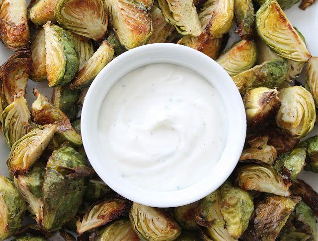 Crispy Brussels Sprouts with Greek Yogurt Ranch