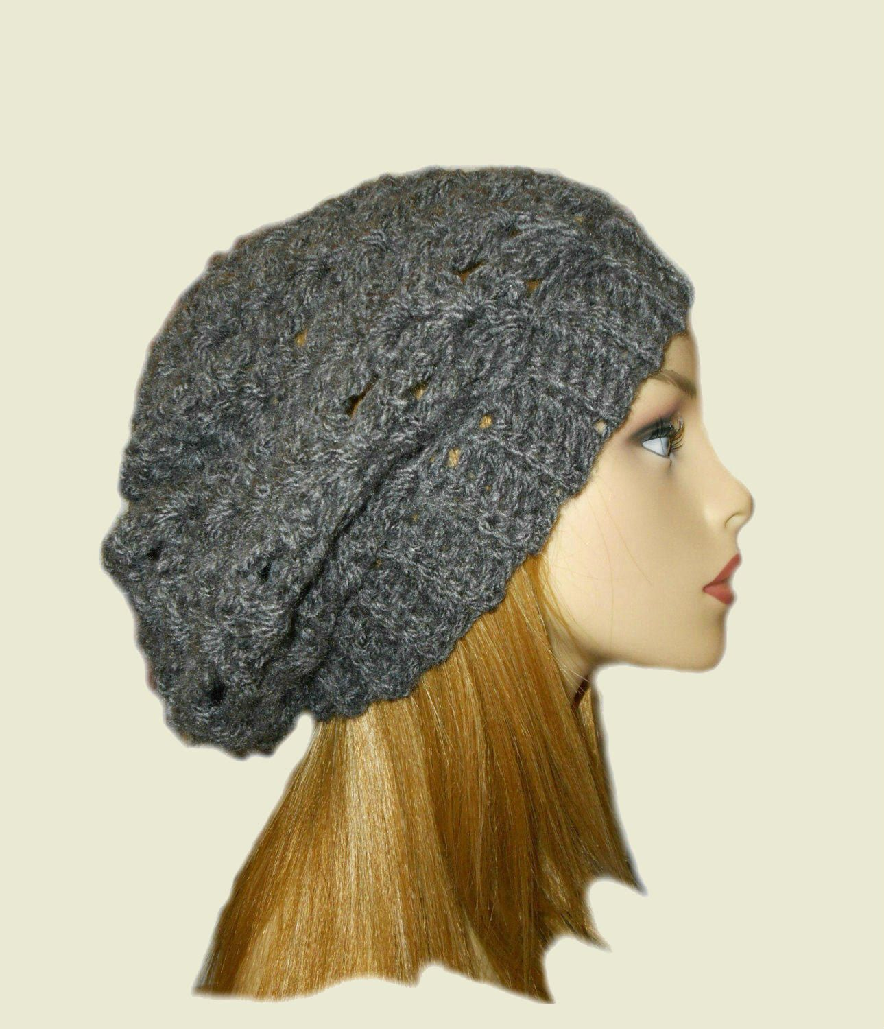 193f2790cfd GRAY SLOUCHY Hat Bestseller Crochet Knit Hat Dark Charcoal Grey ...