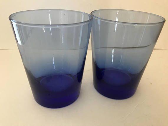 Pretty Pair of  Cobalt Blue Glass Cocktail Rocks Whiskey