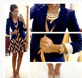 I pretty much have this outfit in another color. I just never thought to put a blazer over the dress