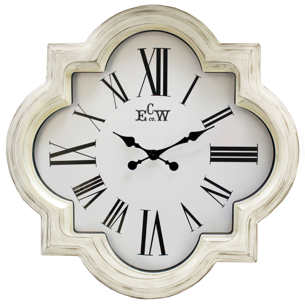 Distressed White Quatrefoil Wall Clock 30 In 2020 Wall Clock Clock Large Wall Clock