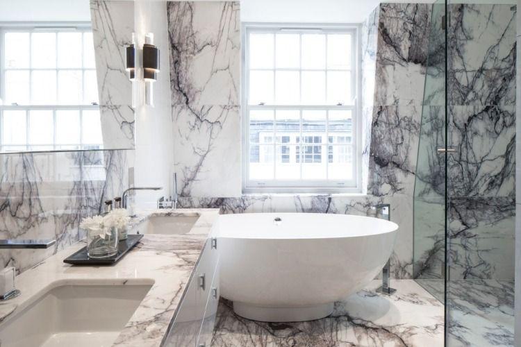 Perfekt Weißer Marmor Mit Schwarzen Fasern Im Luxus Bad