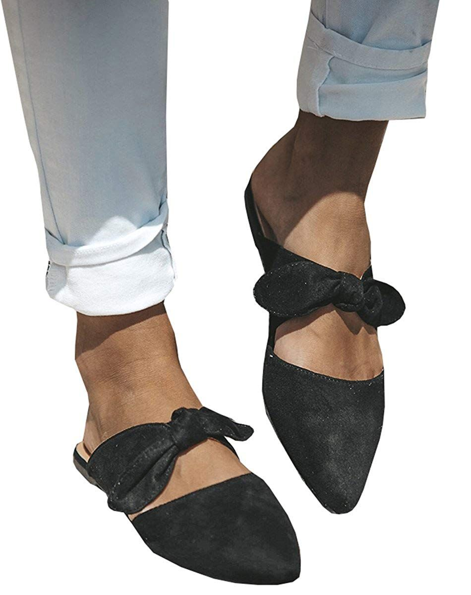 d5dec4d8a Womens Bow Tie-up Flats Faux Suede Knot Pointed Toe Casual Slide Sandal ***  Thank you for visiting our image. (This is our affiliate link) # ...