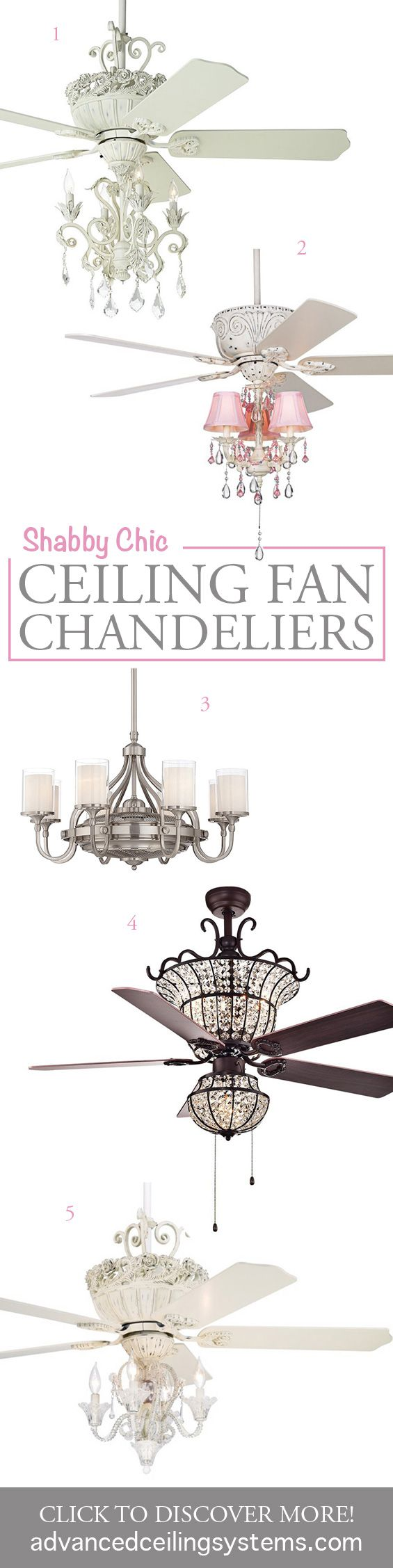 5 unique shabby chic ceiling fan chandeliers aloadofball Image collections