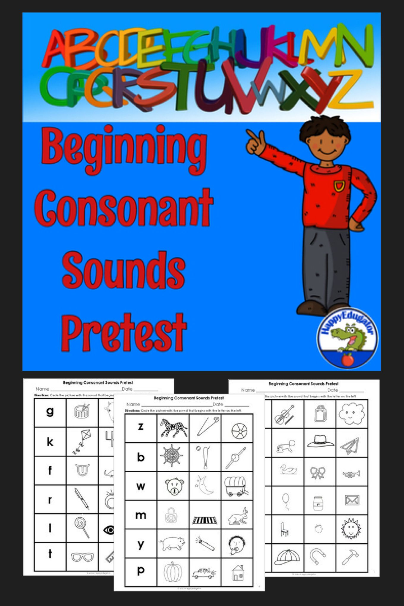 Beginning Consonant Sounds Pretest With Images