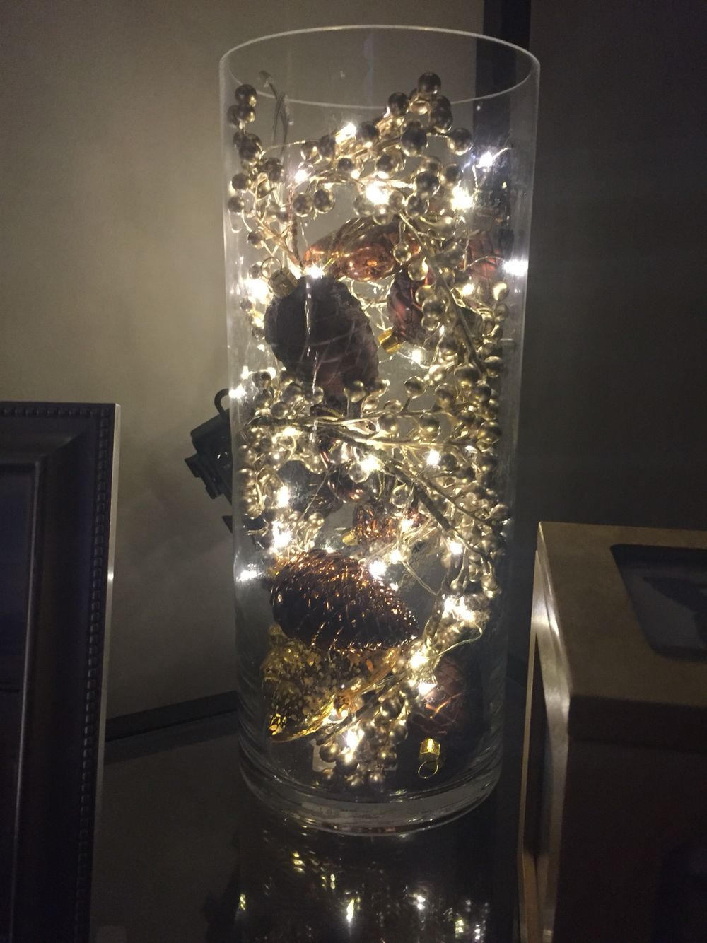 Vase Filled With Ornaments And Mini Lights Christmas