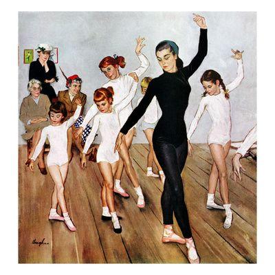 """""""Ballet Class"""", November 3, 1956 Giclée-tryk af George Hughes på AllPosters.dk"""