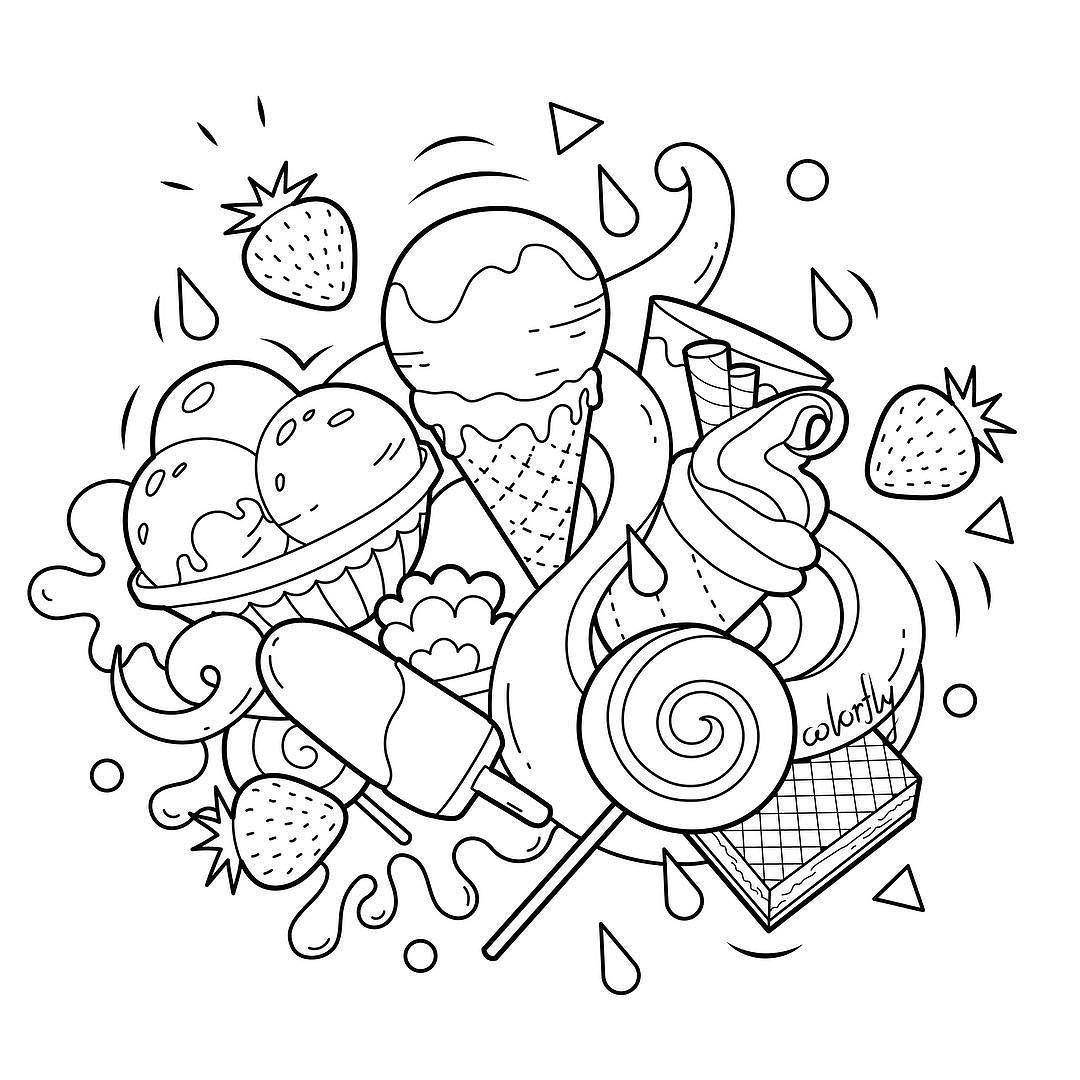 Colorfly Freebie Its Time For Some Sweet Treat Enjoy The Icecream And Waffle By Coloring Them Up You Now Cute Doodle Art Cute Coloring Pages Doodle Art