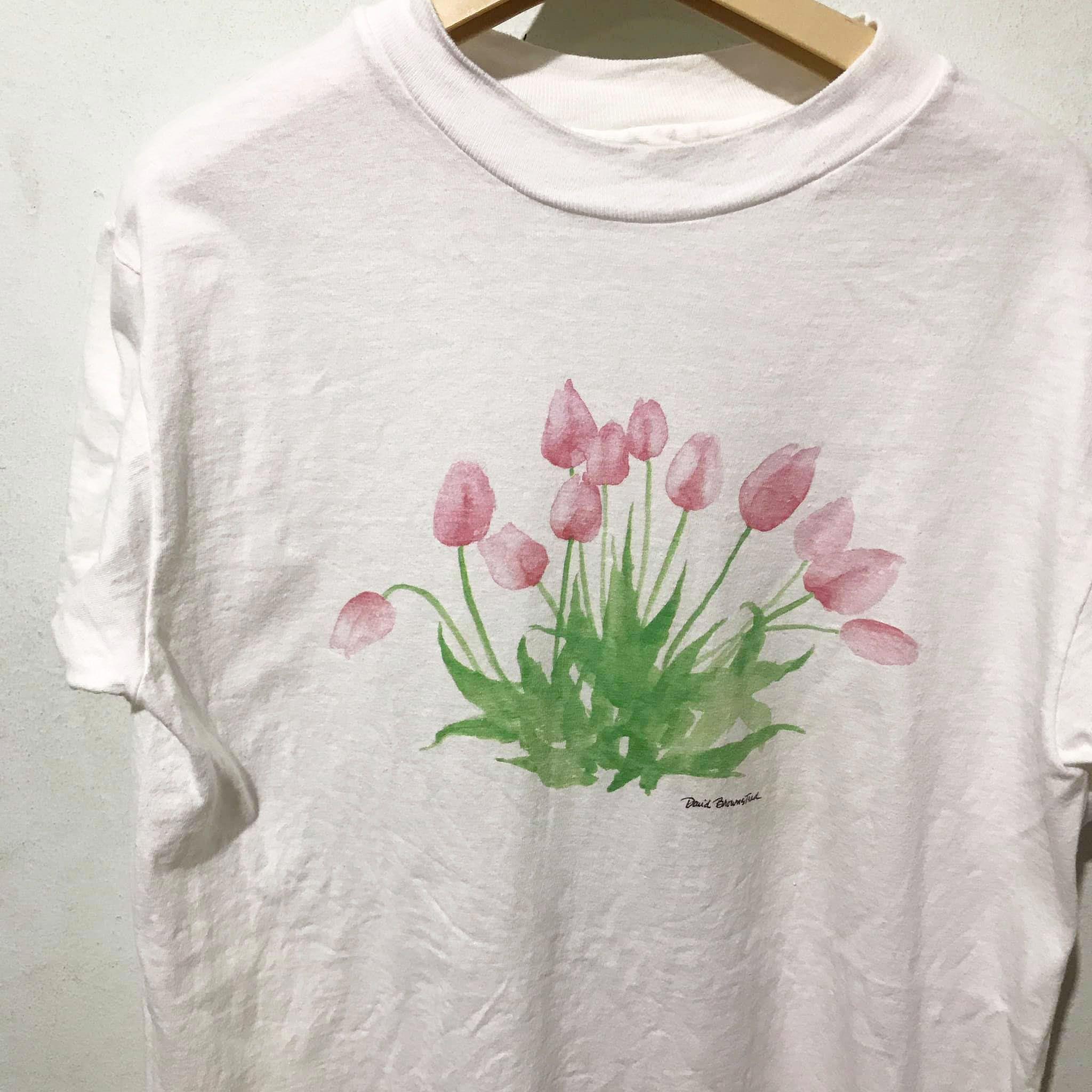 Vintage Flower Shirt Size M Free Shipping David Brownstead Artist