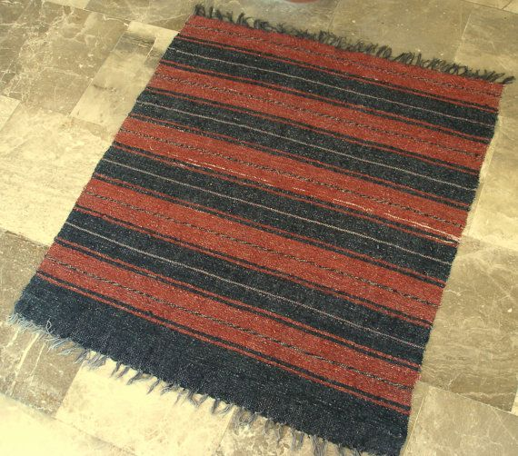 Vintage Small Cotton Rug Handwoven By Vintagehomestories