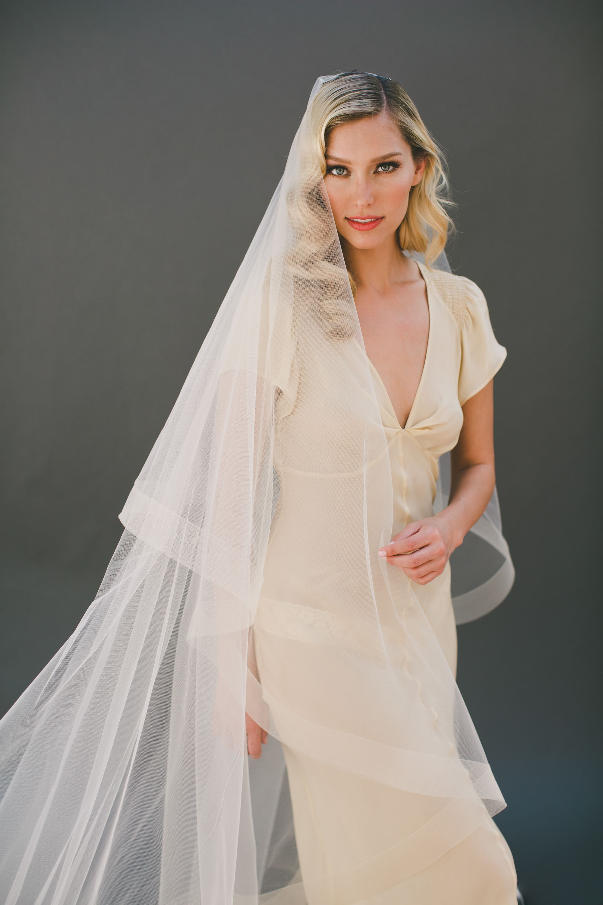 Champagne Horsehair Veil. Cathedral Horse Hair Wedding