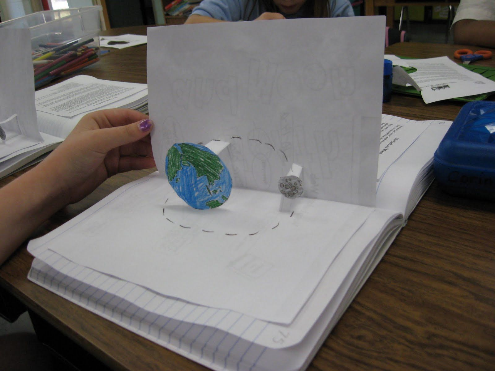 pop-up card in science notebook to help explain the moon\'s ...