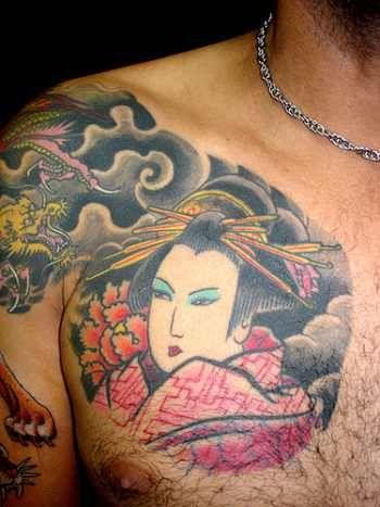 clouds geisha dragon shoulder chest tattoo